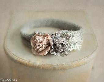 Baby Headband, Mauve Pink and Gray Headband, Newborn Headband, Baby Girl Photo Prop,Newborn Props, RTS, Baby Props, Organic Cotton