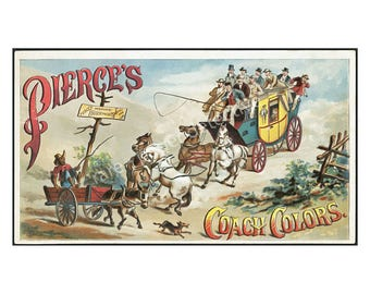 Antique Horse Coach Trade Card, 4 x 7, Horse and Carriage Ephemera, 1890 Advertising Trade Card, General Store, Vintage Wall Hanging, 16-18