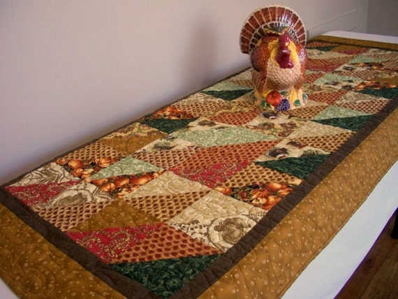 Thanksgiving Quilted Table Runner Patterns : Thanksgiving Table Runner Quilted Turkeys by atthebrightspot