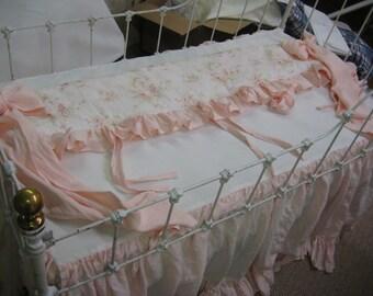 Crib Bedding Separates in Baby Pink Washed Linen-Custom Ruffled Curtains- Ruffled Crib Rail Coverlet-Ruffled Crib Skirt-Ruffled Crib Pillow