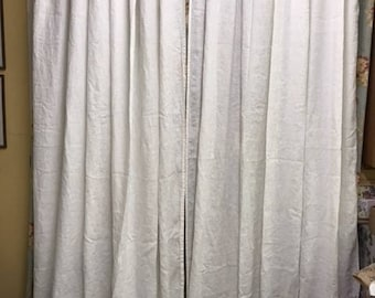 Washed Linen Extra Wide Ruffled Curtains-Unlined Linen Curtains--Patio Door Curtains-Two Wide Linen Panels-Sliding Door Panels-Color Options