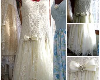 1X-2X Plus Size Ivory tattered wedding dress, boho gypsy bride, Stevie Nicks style, vintage laces, size 20W - 24W, Stretchy, Lily Whitepad