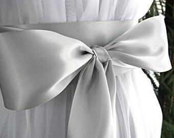 Silver / Gray / Pewter / Platinum wedding sash, bridal sash, bridesmaid sash, bridal belt, gown sash, Communion dress sash, 3 inch satin