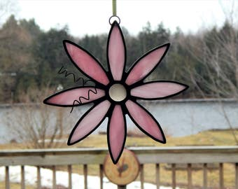 Stained Glass Flower Suncatcher Pink