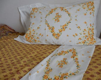 Vintage Pair of Shabby Chic French Provencial Flowered Pillowcases