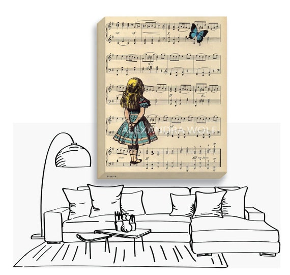 Alice in Wonderland Butterfly Canvas Wrap - Alice Music Page Blue Butterfly Wrapped Canvas - Alice Nursery Decor Canvas - Alice Canvas Art