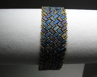 Blue and Purple Herringbone Stitch Matte Glass Tila Bead Bracelet