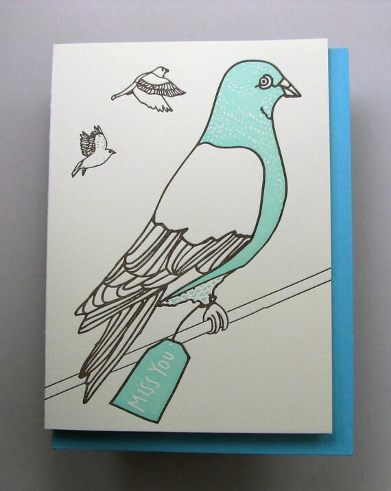 "Letterpress card,  ""Pigeon Miss You"""