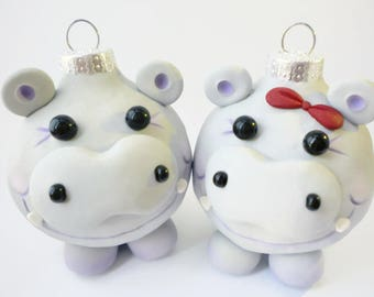 Hippopotamus for Christmas Ornament
