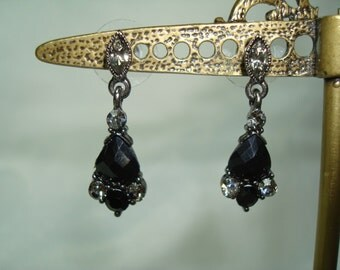 1996 Simple Sparkly Black and Smoky Gray Jeweled Earrings.