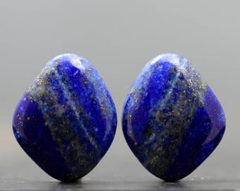 Lapis Lazuli Pair Natural Semiprecious Polished Jewels Cabochons Gemstones Beads Focals Smooth Stones for Jewelry (20716)