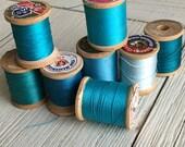 Vintage Wooden Spools Turquoise Aqua Teal Blue Thread Lot