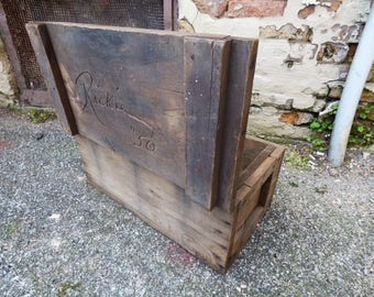 Vintage Wood tool box chest Rustic primitive Signed Rickie 50 lidded storage chest