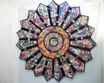 Handmade Mix Media Wall Art, Large Mix Media Art, Quilted Paper Cloth Art, Quilted Starburst Wall Art, Original Art Piece, Paper Mosaic Art
