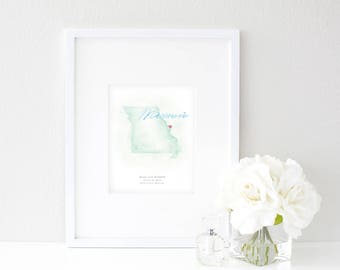 Missouri Watercolor Map | Destination Map Print | Personalized Watercolor Map | Honeymoon Map | Anniversary Map | Watercolor Wedding Map