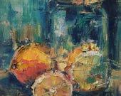 Lemonade, lemons, still life, mason jar, palette knife, abstract, kitchen art, farm house decor, turquoise, gift idea
