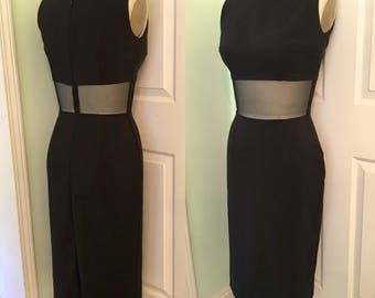 Pinup Marilyn Style Black Pinup Wiggle Dress- Sexy Sheer Midriff- Sexy 1950s Little Black Dress ready to ship M Medium