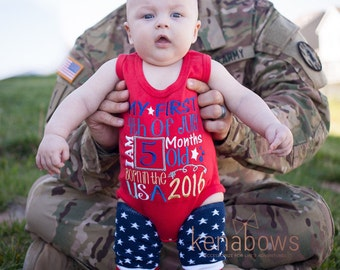My First 4th of July Outfit, Baby's 1st July Fourth Shirt, Boy, Girl, Red Tank Bodysuit, American Leg warmers, Patriotic, Milestone Shirt