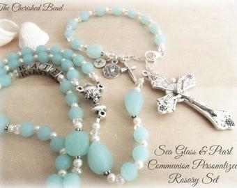 Opaqe Seafoam Sea Glass, Swarovski Pearl and Crystal Communion Personalzed Rosary Set - Heirloom Rosary - Rosary Bracelet - Beach Rosary