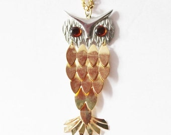 sale // Vintage 70s Gold and Silver Owl Necklace with Amber Eyes - Articulated Feathers