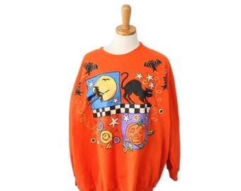 50% half off sale // Vintage 80s Halloween Sweatshirt // busy tacky Women Men 2XL // one size fits many, Wetpaint