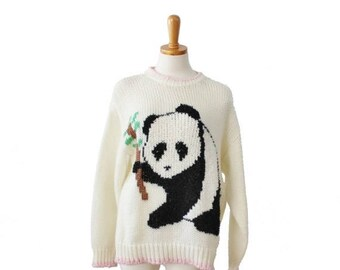 60% off sale // Vintage 80s Panda and Bamboo Novelty Sweater - Women L - ivory and pink, Evian II, hand knit