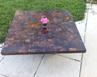 TESSELLATED HORN COFFEE TABLe / Lacquered Horn Coffee Table / Maitland Smith Style HornTable / Hollywood Regency Table at Retro Daisy Girl