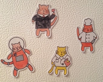 Cute Cat Magnets - Cat Magnets - Fridge Magnets - Astronaut Cat - Cubicle Decor - Refrigerator Magnets - Funny Cat Magnets - Cats with Jobs