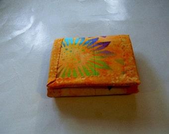 Orange Sunflower Batik Trifold Wallet