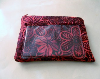 Red Floral Batik Zipper Pouch with Plastic Lining and Texting Pocket