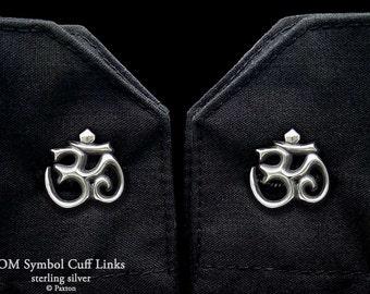 OM Symbol Cuff Links Sterling Silver Ohm Aum Yoga Meditation