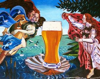 The Birth of Venus, Sandro Botticelli, Beer Artist, Famous Painting with Beer, Gift for Beer Nerd, Gift for Husband, Art for Men, Beer Art