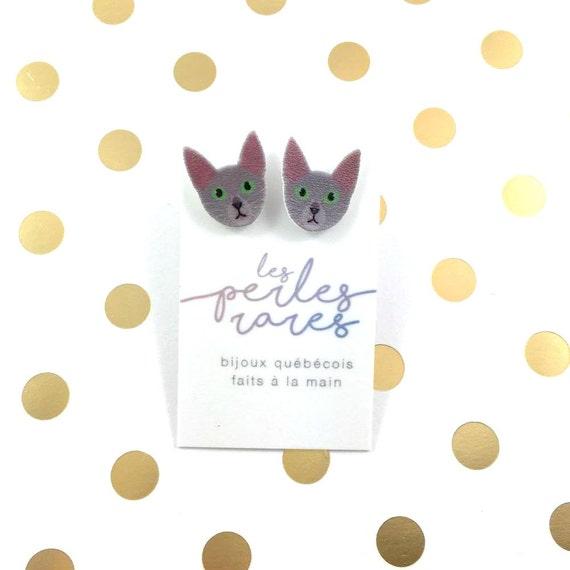 Russian blue, little cat, cat, earring, catlover,  plastic, stainless stud, handmade, les perles rares