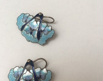 Chinese Silver and Enamel Dangle Earrings