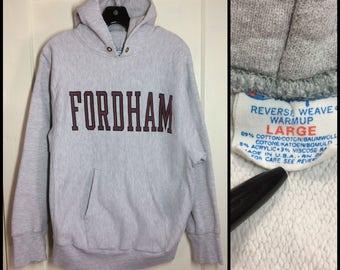 distressed Fordham University Bronx New York City NYC College School Champion Reverse Weave Hoody Sweatshirt size Large cloth tag tri-blend