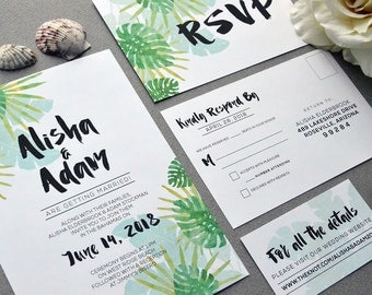 Tropical Wedding Invitations, Watercolor Wedding Pocket Invite Set, Destination Wedding Invitation Suite, Beach Wedding Invites Teal Green