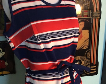 Vintage 1960s 1970s red white and blue mod scooter dress with original belt xl