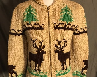 Vintage 1960s wool cowichan sweater with deer and pine trees xs