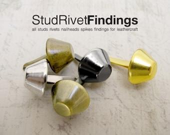 100pcs 8mm cone PURSE FEET Studs Nailheads Spike DIY / antique brass