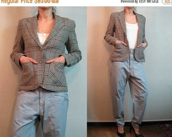 FALL SALE 70s PATTY Woodard California vtg Sand Wool Plaid Classic Equestrian Riding Jacket w/ Pockets xs Small s/m 1970s