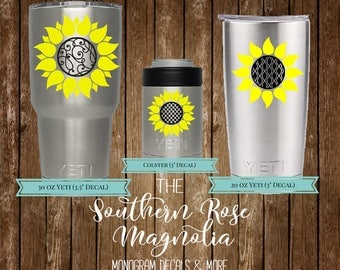 Yeti Sunflower Decal, Personalized Gift, Monogram Decal, Sunflower Decal, Sunflower, Vinyl Decal, Unique Gift, monogram car decal, Car Decal