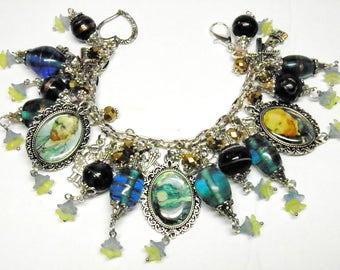 Van Gogh Jewelry, Starry Night Jewelry, Van Gogh Bracelet, Artisan Lampwork Beads, Vincent Van Gogh Art, Steampunk Jewelry, OOAK Bracelet #1