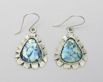925 Sterling Silver Colorful Roman Glass Earrings