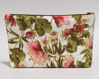Pink Floral Makeup Bag Waterproof Brown Pink Green Lined Clutch Purse