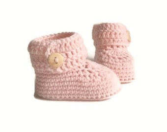Pink Baby Booties, Girls Knitted Baby Booties, Knit Baby Booties, Crochet Baby Booties, Merino Wool Baby Shower Gift Warm and Woolly on Etsy