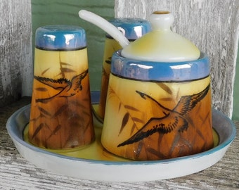 Salt Peppers Spice Jar set on tray  with geese made in Japan