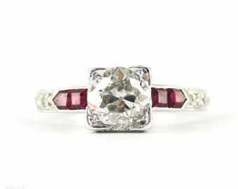 Old European Cut Diamond Engagement Ring with Square Cut Ruby & Round Brilliant Diamond Accents. Circa 1930s, 18ct.