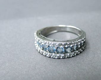 Jewelry / Statement Ring / Swiss Blue and White Topaz Solid Sterling Silver Wedding Ring / Accessories / Engagement