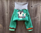 SMALL Upcycled Wool Longies Soaker Cover Diaper Cover With Added Doubler Green/ Gray  With Wolf Applique 3-6M