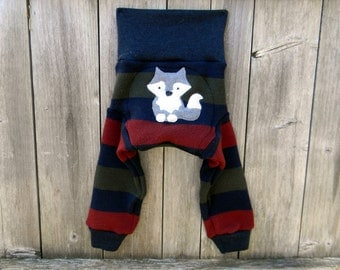 LARGE  Upcycled  Merino Wool Longies Soaker Cover Diaper Cover With Added Doubler Navy /Red /Green Stripes  With Wolf Applique  12-24M